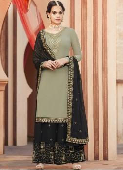 Faux Georgette Patch Border Green Designer Pakistani Suit