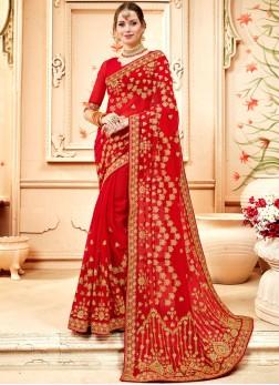 Faux Georgette Red Resham Saree