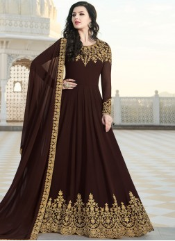 Faux Georgette Resham Floor Length Anarkali Suit in Brown