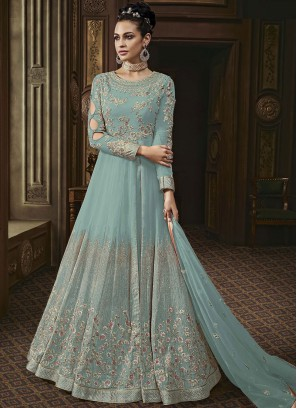Faux Georgette Sea Green Anarkali Salwar Suit
