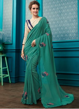 Georgette Sea Green Resham Trendy Saree with Designer BLouse