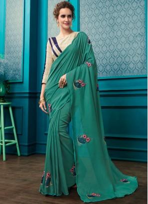 Georgette Sea Green Resham Trendy Saree with Designer BLouse