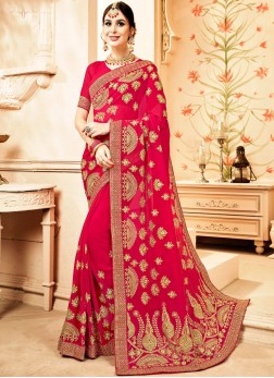 Faux Georgette Trendy Saree in Hot Pink