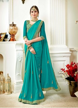 Faux Georgette Turquoise Saree