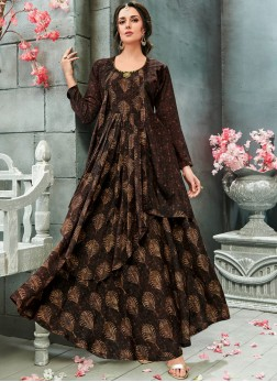 Festal Brown Readymade Gown