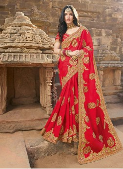 Festal Embroidered Georgette Red Classic Saree