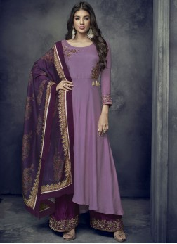 Festal Purple Embroidered Rayon Readymade Suit