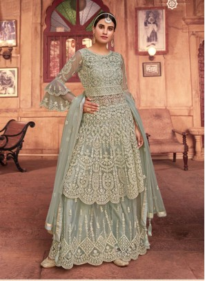 Festival Embroidery Anarakli Salwar Suit With Palazzo In Cadet Blue