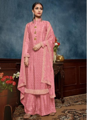Festival Embroidery Chinon Salwar Kameez With Palazzo In Pink