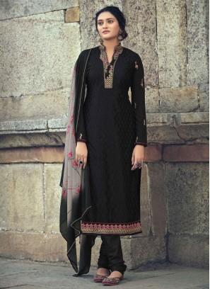 Festival Embroidery Work Churidar Salwar Suit In Black