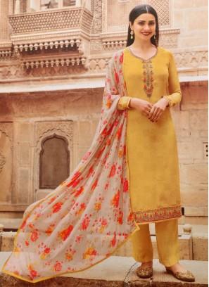 Festival look designer Salwar Suit Scenic In Yellow - Off White