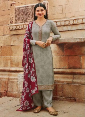 Festival Look Pretty Designer Salwar Suit In Silver & Maroon