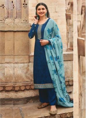Festival Look Ravishing Designer Salwar Suit In Blue & Sky Blue