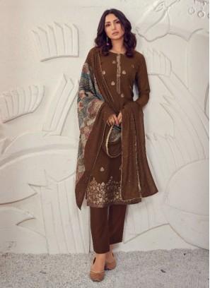 Festival Season Heavy Dupatta Salwar Suit In Brown