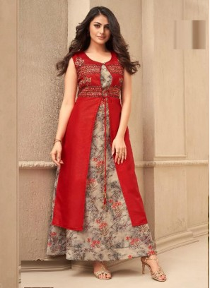 Festival Season Party Wear Kurtis Collection In Red - Silver
