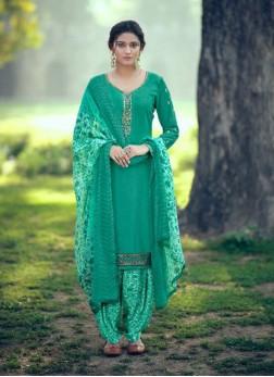 Festival Season Party Wear Punjabi Salwar Suit In Auqe Blue