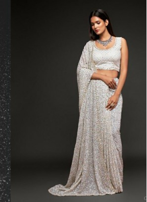 Festival Season Party Wear Sequins Saree In White