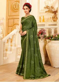 Festival Wear Designer Embroidery Work Saree In Olive Green