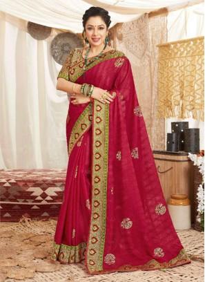 Festival Wear Embroidery Work Silk Saree In Maroon