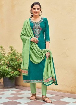 Festival Wear Jamwar Silk Pant Style Salwar Suit In Teal