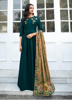 Festival Wear Stylish Anarkali Salwar Suit In Green