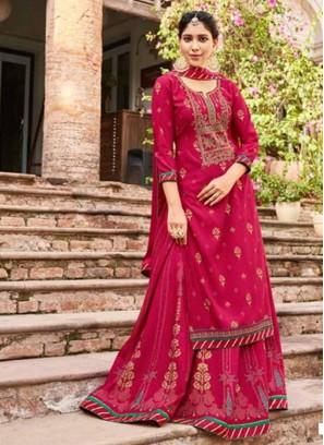 Festival Wear Stylish Work Neck Lehenga Style Suit In Red