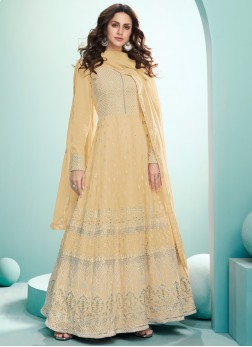 Festive Sequence Embroidery Gown In light Yellow