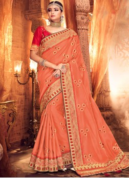 Fetching Art Silk Peach Classic Saree