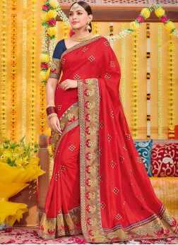 Fetching Embroidered Red Designer Saree