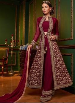 Fetching Faux Georgette Designer Palazzo Suit