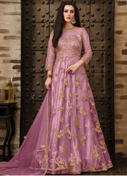 Fetching Pink Zari Anarkali Suit