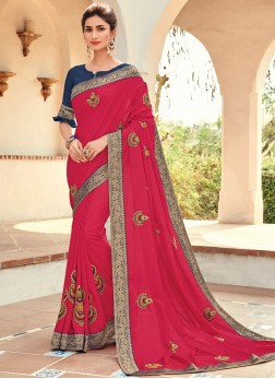 Fine Hot Pink Ceremonial Traditional Saree
