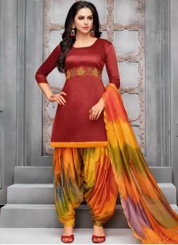 Fine Maroon Designer Patiala Suit