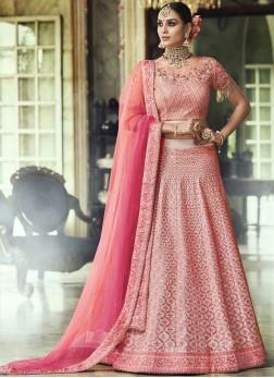 Fine Net Resham Pink Lehenga Choli