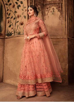 Fine Net Wedding Designer peach pink Pakistani Suit