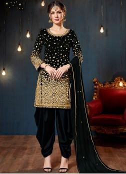 Fine Tafeta Silk Mirror Black Designer Patiala Salwar Kameez