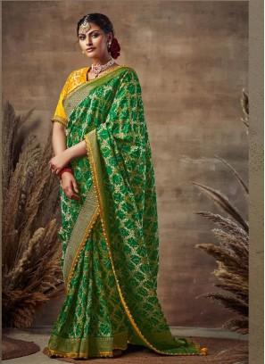 First-Class Green-Gold Siroski Diamond Pallu Pure Soft Silk