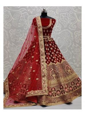 Flaired Velvet Bridal Lehengacholi In Maroon