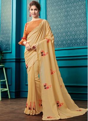 Flamboyant Faux Georgette Resham Cream Classic Designer Saree
