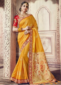 Flamboyant Handwork Yellow Trendy Saree