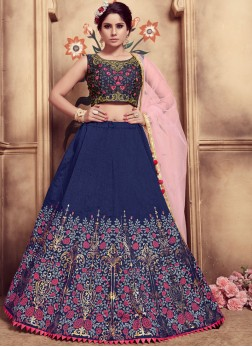 Flamboyant Navy Blue Art Silk Trendy Lehenga Choli