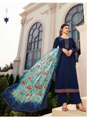 Flashy Embroidered Georgette Pakistani Suit In Navy Blue