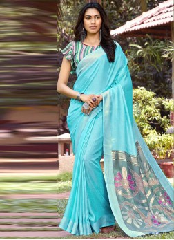 Flattering Blue Party Casual Saree