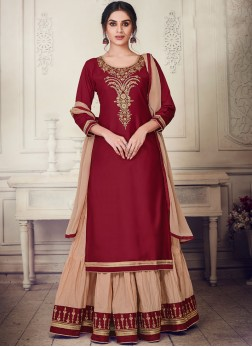 Flattering Embroidered Maroon Cotton Silk Designer Lehenga Choli