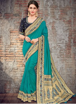 Flawless Art Silk Blue Woven Traditional Designer Saree