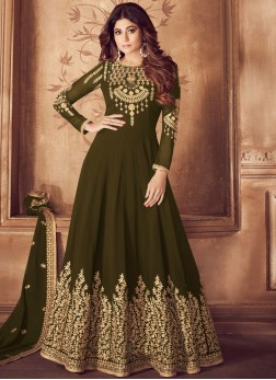 Flawless Embroidered Georgette Green Anarkali Suit