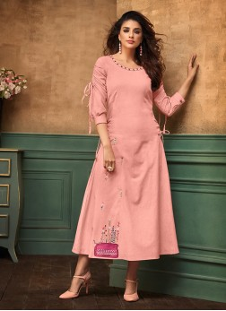 Flawless Pink Cotton Satin Party Wear Kurti