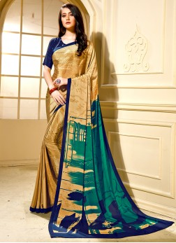 Flawless Printed Faux Crepe Trendy Saree