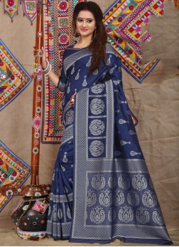 Flawless Weaving Fancy Fabric Navy Blue Designer Traditional Saree