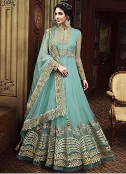 Floor Length Anarkali Suit Resham Net in Blue